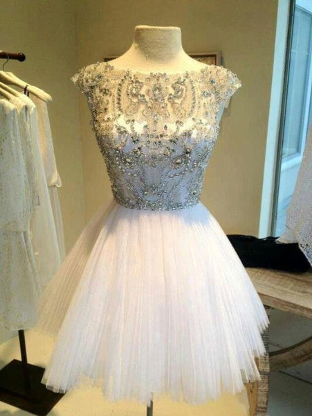 Homecoming Dress,Beaded Sweetheart Chiffon Short Prom Dress