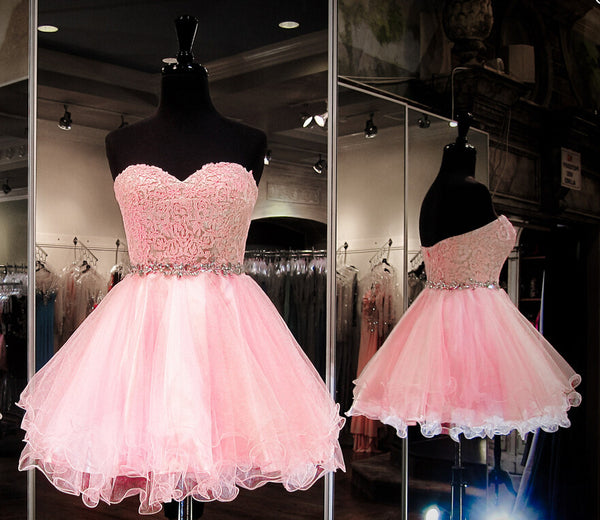 Organza Pink Strapless Sweet Mini Homecoming Dress, Short Prom Dress