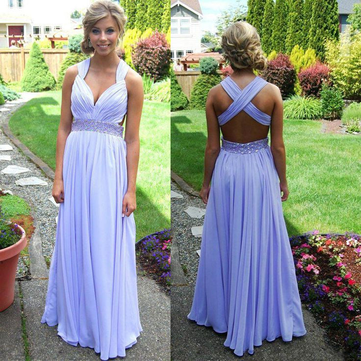 Homecoming Dress,Lavender Criss-Cross Back Chiffon Long Prom Dress
