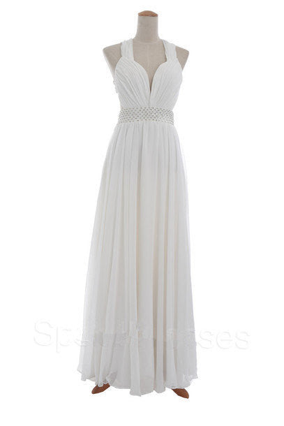 Homecoming Dress,White Criss-Cross Back Chiffon Long Prom Dress