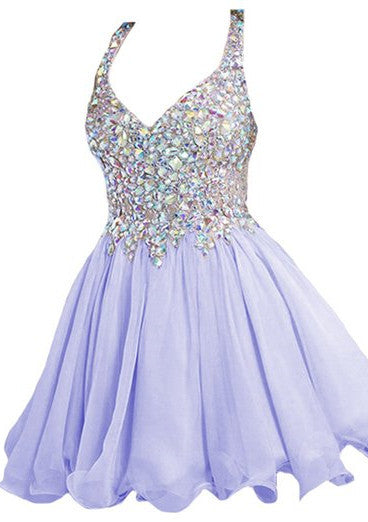 Lavender Straps Crystal Homecoming Dresses,Mini Sweer Homecoming Dress