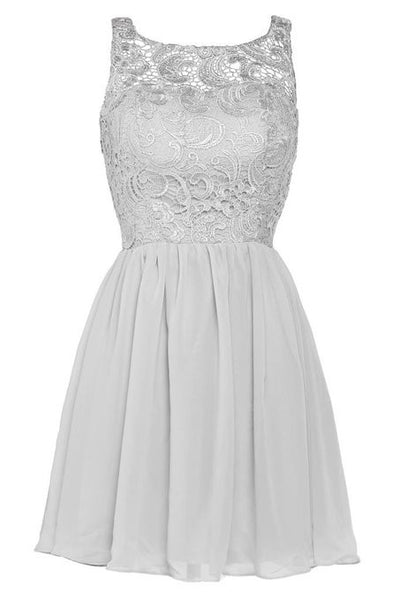 White Lace Chiffon Homecoming Dress,Simple Straps Homecoming Dresses