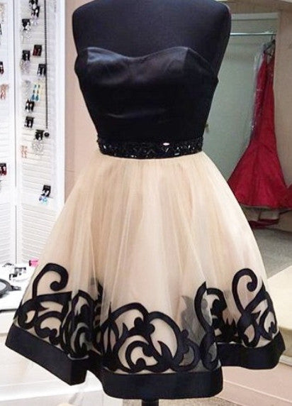 Black Strapless Homecoming Dresses,Mini Chiffon Homecoming Dresses,Short Prom Dress