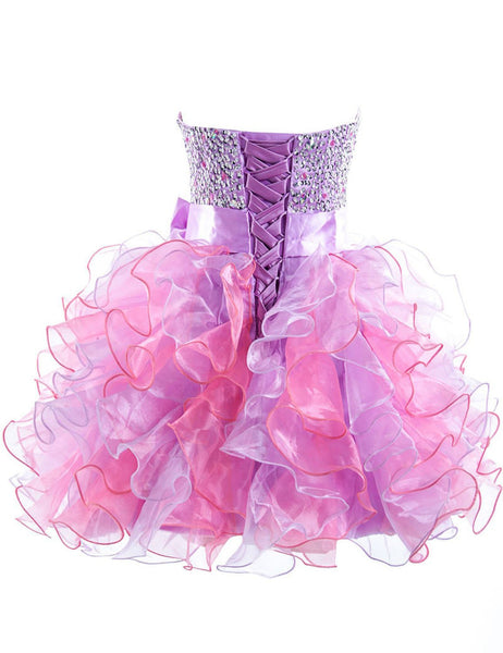 Pink And Purple Homecoming Dress,Sweetheart Strapless Homecoming Dresses