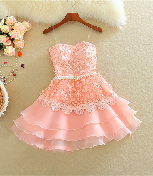 Pink Straps Homecoming Dress,Short Applique Chiffon Homecoming Dresses
