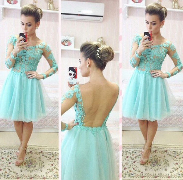 Mint Homecoming Dress,  Lace Tulle Homecoming Dress with Appliques