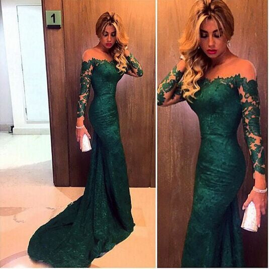 Sheath Lace Prom Dresses,Green Prom Dress,Long Evening Dress