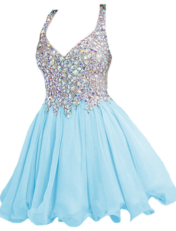 Sky Blue Straps Crystal Homecoming Dresses,Mini Sweer Homecoming Dress