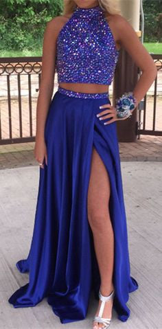 Two Piece Prom Dresses ,Royal Blue Prom Dress,Long Evening Dress