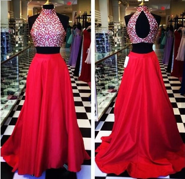 Two Piece Prom Dresses,Hot Pink Prom Dress,Long Evening Dress