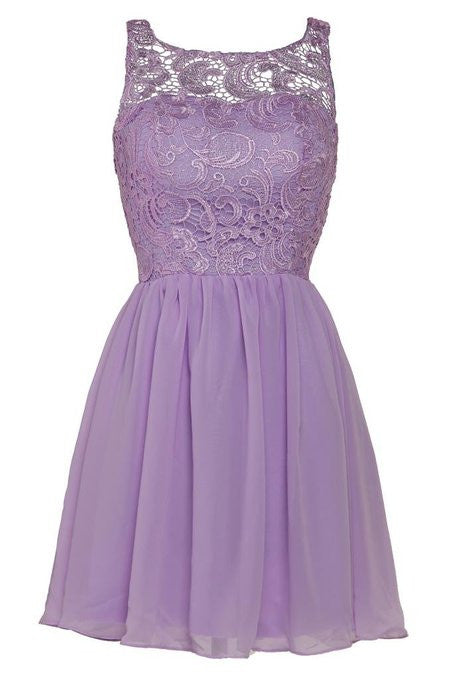 Purple Lace Chiffon Homecoming Dress,Simple Straps Homecoming Dresses