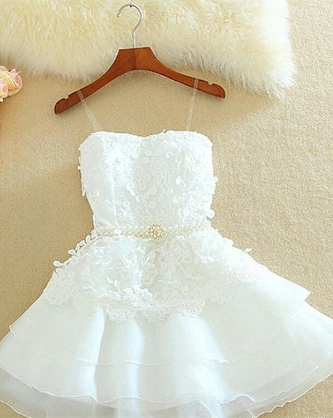 White Straps Homecoming Dress,Short Applique Chiffon Homecoming Dresses