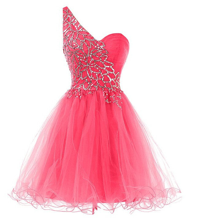 Copy of Homecoming Dress,One Shoulder Pink Sequins Chiffon Short Prom Dress