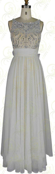V-Back Prom Dresses, White Prom Dresses,Long Evening Dress