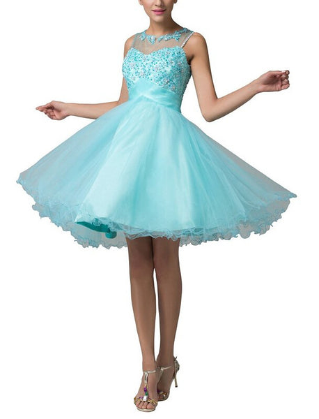 Homecoming Dress,Sleevesless Lace Applique Chiffon Short Prom Dress