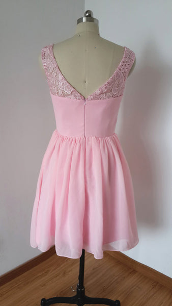 Homecoming Dress,Pink Lace Chiffon Straps Sweetheart Short Prom Dress