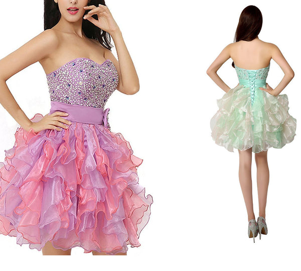 Homecoming Dress,Pink/Green Strapless Beadings Bowknot Short Prom Dress