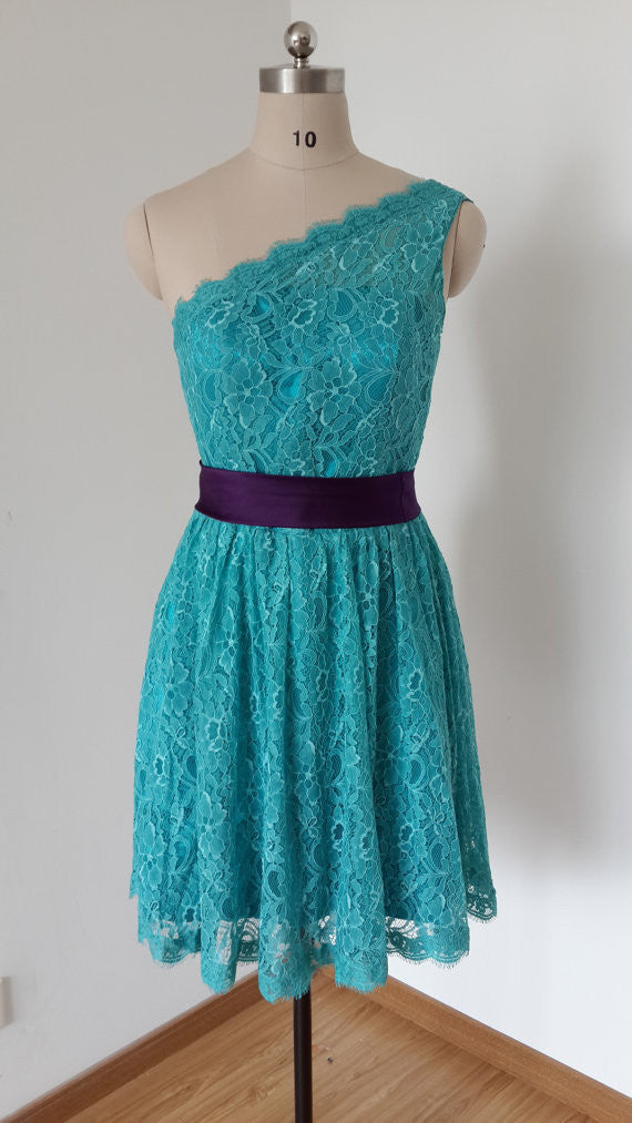 Homecoming Dress,Green One Shoulder Lace Belt Short Prom Dress