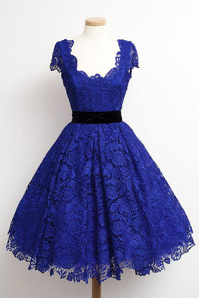 Homecoming Dress,Elegant Blue Lace Short Sleeves Belt Short Prom Dress