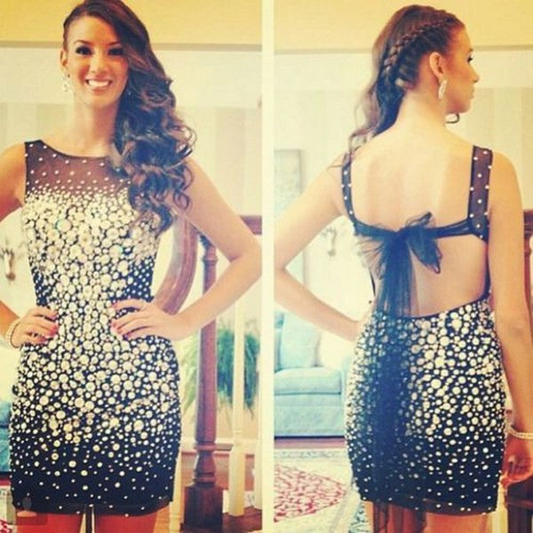 Homecoming Dress,Black Lace Straps Backless Beading Shot Prom Dress
