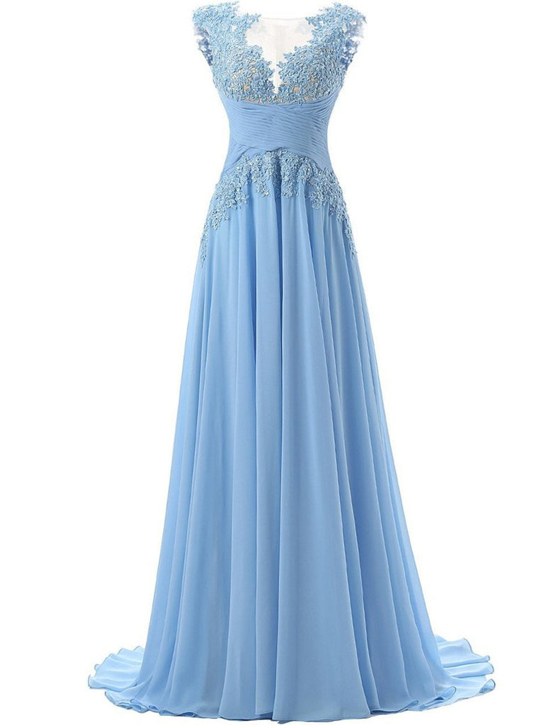 A-Line Blue Applique Prom Dresses,Prom Dress
