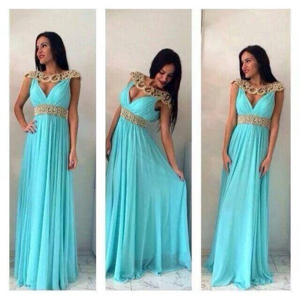 A-Line Prom Dresses,Blue Prom Dresses,Long Evening Dress
