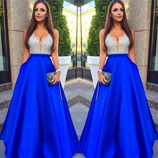 Blue Sleeveless Prom Dresses ,V-Neck Prom Dress,Long Evening Dress