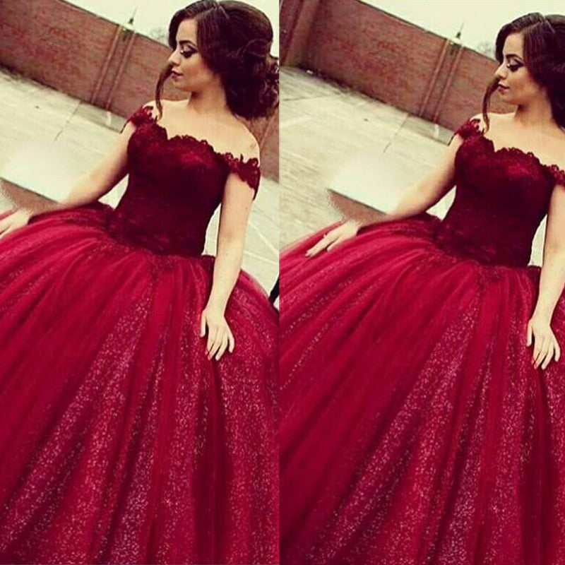 f821db2711a Off Shoulder Burgundy Prom Dresses