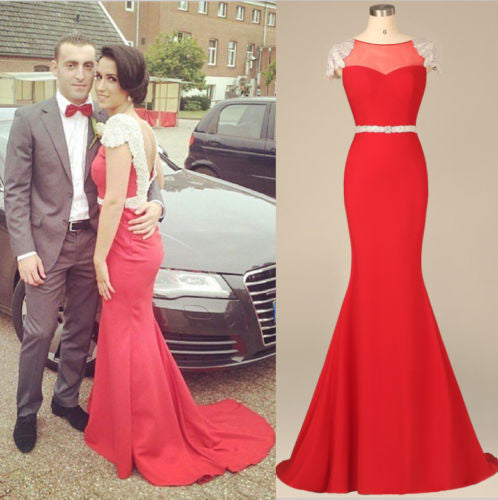 Cap Sleeve Red Mermaid Prom Dresses,Prom Dress