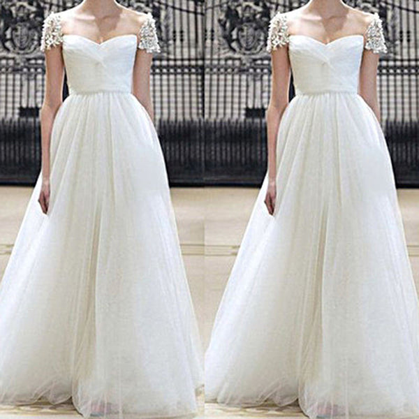 A-Line White Cap Sleeve Prom Dresses,Prom Dress