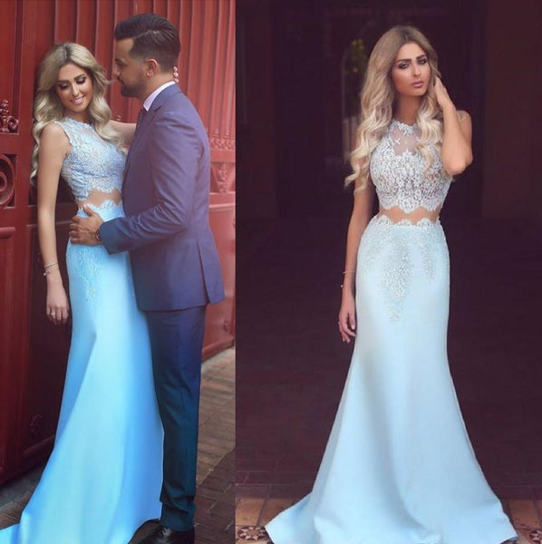 Blue Mermaid Prom Dresses ,Two Piece Prom Dress,Long Evening Dress
