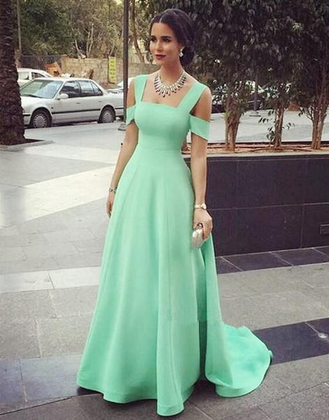 Off Shoulder A-Line Green Prom Dresses,Prom Dress