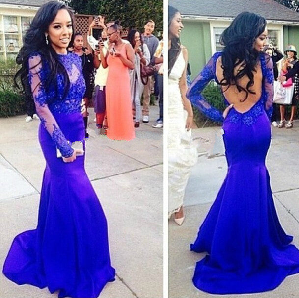 Backless Prom Dresses,Royal Blue Prom Dress,Long Evening Dresses