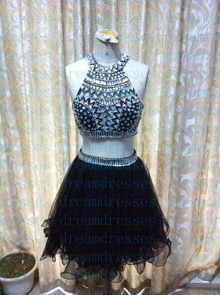 High Neck Prom Dresses,Black Prom Dress,Short Evening Dresses