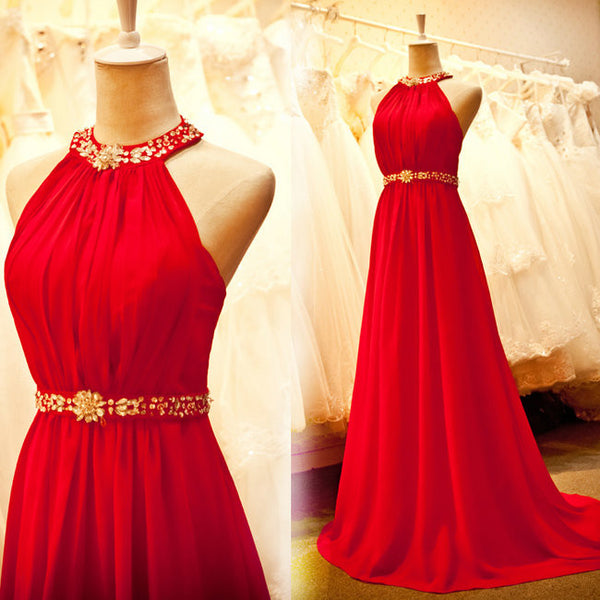 Halter Red Prom Dresses ,A-Line Prom Dress,Long Evening Dress