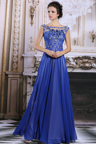 See Through Neck Prom Dresses,Blue Prom Dress,Long Evening Dress