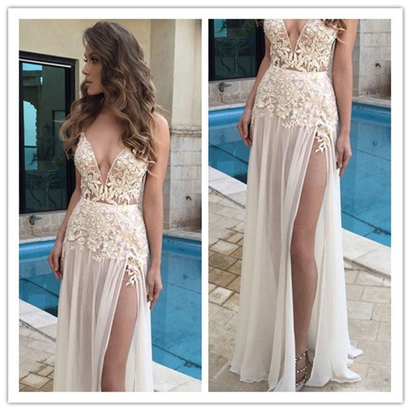 Lace Long Prom Dress, Long Lace Prom Dresses, Lace Evening Dress