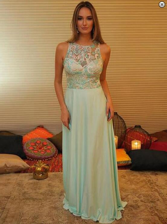 Light Green Lace A-Line Prom Dresses,Prom Dress