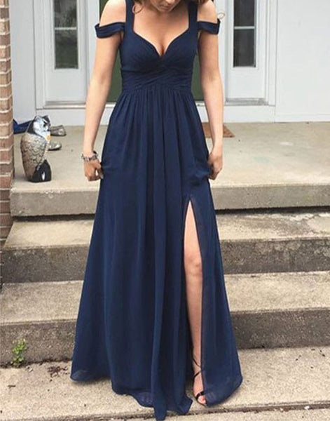 Off Shoulder A-Line Chiffon Prom Dresses,Prom Dress