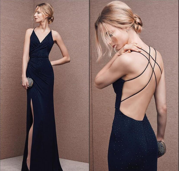 Spaghetti Straps Prom Dresses,Slit Prom Dresses,Long Evening Dress