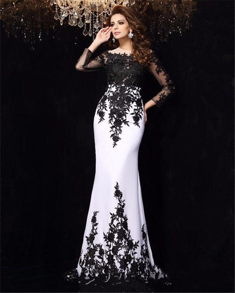 Black Applique White Mermaid Prom Dresses,Prom Dress