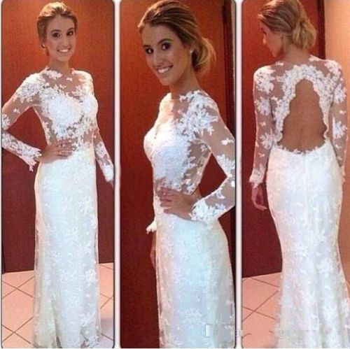 Long Sleeve White Lace Backless Prom Dresses,Prom Dress