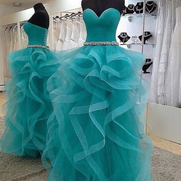 Sweetheart Ruffles Tulle Long Prom Dresses,Prom Dress