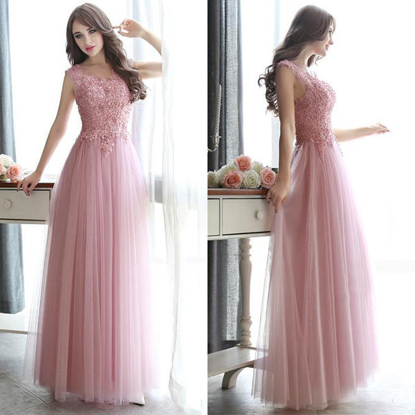 Sleeveless A-Line Beading Prom Dresses,Prom Dress