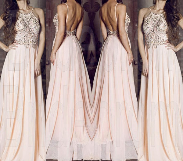 Pink Halrer Prom Dresses,Beaded Prom Dresses,Long Evening Dress