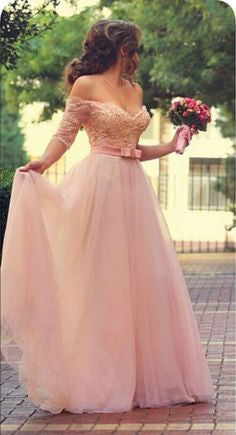 Half Sleeve Sweetheart Prom Dresses,Pink Prom Dresses,Long Evening Dress