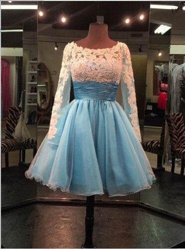 Homecoming Dress,Long Sleeves Scoop White Lace Applique Short Prom Dress