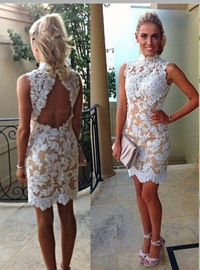 Homecoming Dress, Column High Neck Sleeveless Short Prom Dress