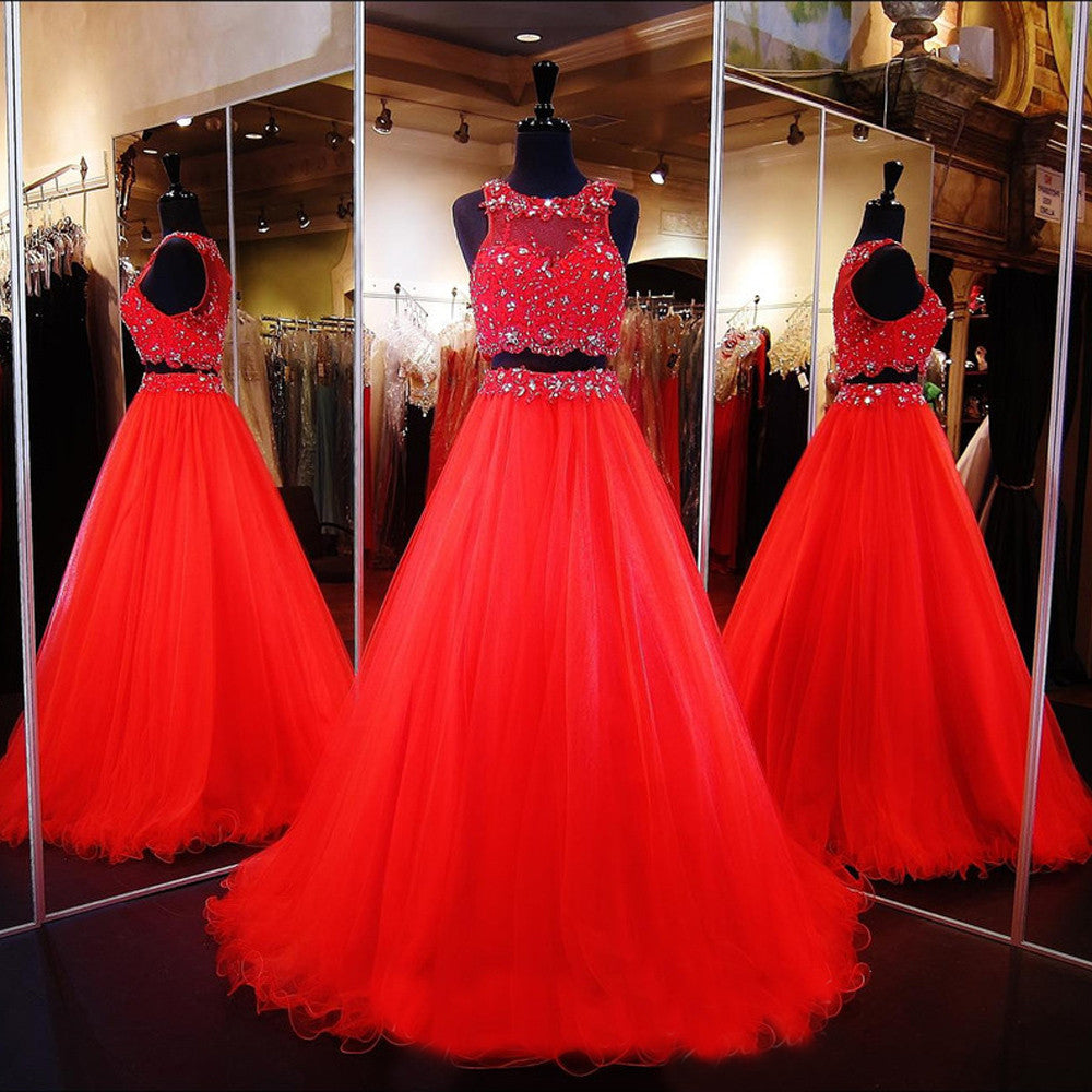 A-line Two Piece Prom Dresses,Red Prom Dress,Long Evening Dress