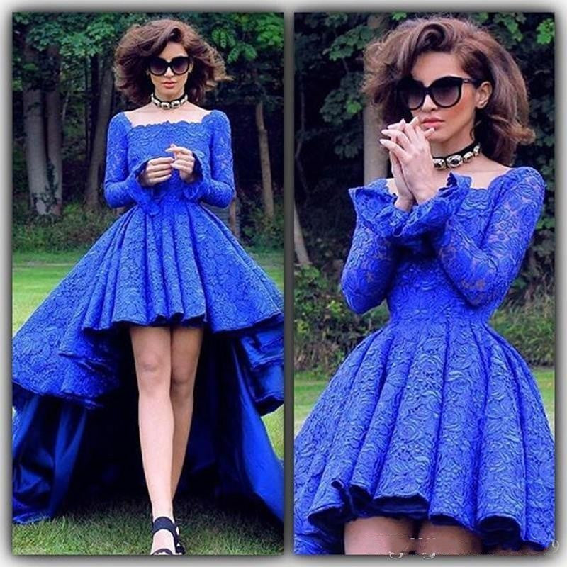 Hi-Lo Lace Prom Dresses,Blue Prom Dress,Long Evening Dress